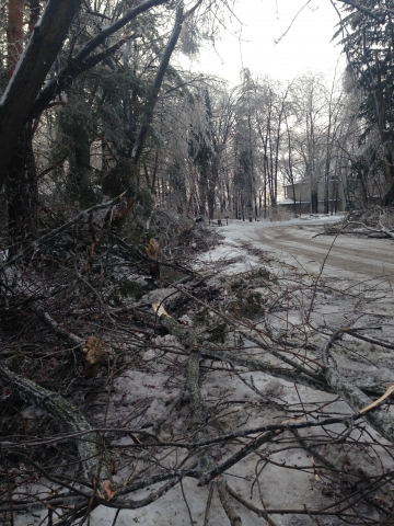 2 days after the ice storm-the  road is reopened-A