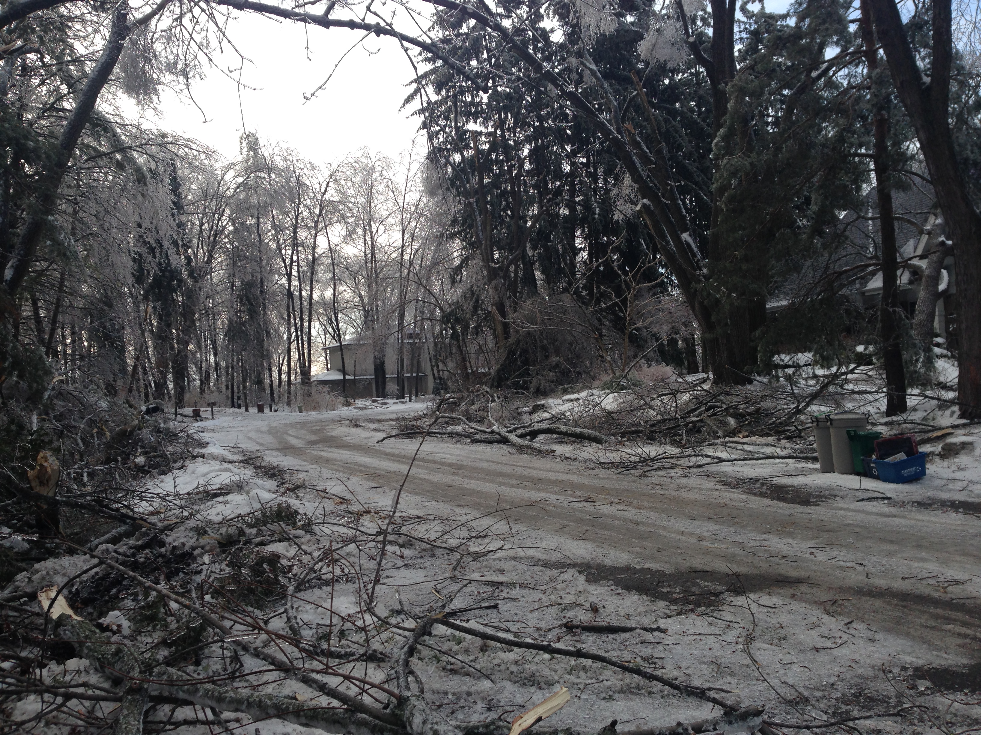 2 days after the ice storm-the  road is reopened-B