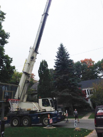 Crane Setup for generator delivery